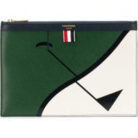 Thom Browne Case Para Tablet 'Golf Intarsia' Em Couro - Verde
