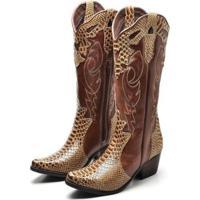 Bota Couro Texana Country Click Calçados Cano Longo Bico Fino Feminina - Feminino-Marrom+Mel