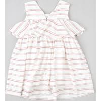 Vestido Infantil Listrado Com Sobreposição Sem Manga Branco
