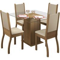 Conjunto Sala De Jantar Mesa C/ 4 Cad. Madesa Gloria Rustic/ Crema/ Perola