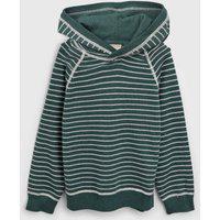 Blusa Puc Infantil Tricot Capuz Verde/Off-White