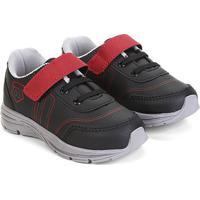 Tênis Infantil Kurz Jogging Velcro E Amarração Masculino - Masculino-Preto+Vermelho