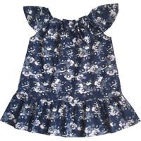 Vestido Bebê Em Algodão Estampa Floral Da Tóing Marinho
