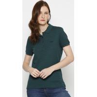 Polo Slim Fit Texturizada- Verde & Azul Marinho- Laclacoste