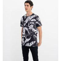 Camiseta Manga Curta Estampa Folhagens | Blue Steel | Preto | Pp