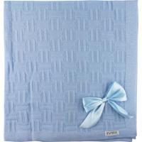 Manta De Tricot Michelle Para Bebê Azul Claro Nuance Com Laços.. - Kanui
