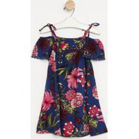 Vestido Floral Com Recortes- Azul Marinho & Rosa- Pepequena Mania