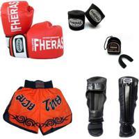 Kit Boxe Muay Thai Oríon Luva Bandagem Bucal Caneleira Shorts 08 Oz - Unissex