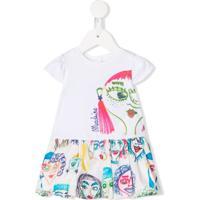 Moschino Kids Vestido Mangas Curtas Com Estampa Gráfica - Branco