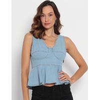 Blusa Jeans Com Pespontos & Recortes- Azul Claro- Mymy Favorite Things
