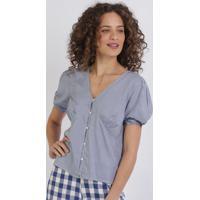 Blusa Feminina Estampada Xadrez Com Botões Manga Curta E Decote V Azul