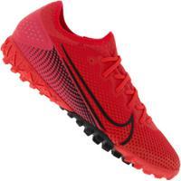 Chuteira Society Nike Mercurial Vapor 13 Pro Tf - Adulto - Coral/Preto