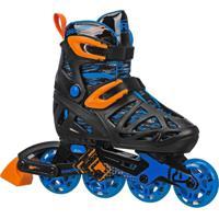 Patins Inline Roller Derby 4 Rodas Tracer Boy - Ajustável Do Tamanho P 28 Ao 31 - I149Bs - Preto