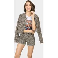 Jaqueta Jeans Cropped Estampa Jaguar - Lez A Lez