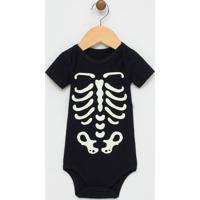 Body Infantil Estampa Esqueleto Brilha No Escuro Halloween - Tam 0 A 18 Meses