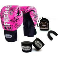 Kit Boxe Muay Thai Fheras New Top Luva + Bandagem Grafite Rosa 005