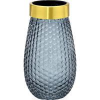 Vaso Decorativo- Cinza & Dourado- 25Xã˜13,5Cm- Mamabruk