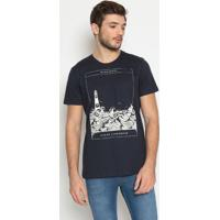 "Camiseta ""Farol""- Azul Marinho & Branca- Colccicolcci"