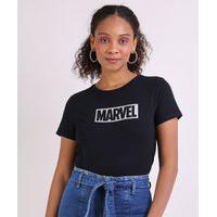 Blusa Feminina Marvel Manga Curta Decote Redondo Preta