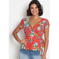 Blusa Floral Com Amarração & Transpasse- Vermelha & Branvip Reserva