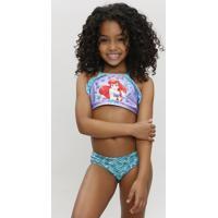 Biquíni Infantil Ariel Pequena Sereia Com Babados Com Proteção Uv50+ Lilás