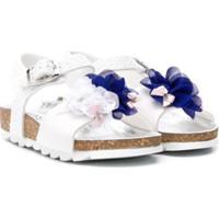 Monnalisa Sandália Com Aplicação Floral - Branco