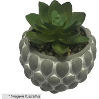 Vaso Decorativo Pine Shell Com Planta Artificial- Cinza Urban