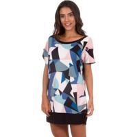 Camisão Feminino Curto Color Block Inspirate - Feminino-Rosa+Preto