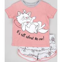 Pijama Infantil Marie Manga Curta Rosê