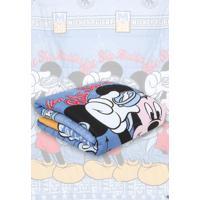 Edredom Santista Dupla Face Disney Mickey Aviador Azul