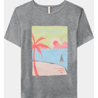 T-Shirt Malha Pés Na Areia Mescla