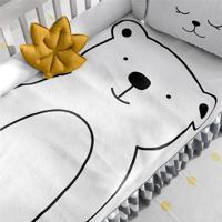 Manta Bebê Tricot Urso Branco Grão De Gente Preto