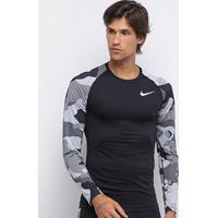 Camiseta Nike Pro Slim Camo Manga Longa Masculina - Masculino