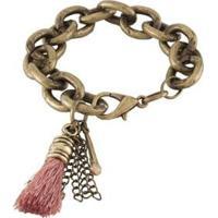 Pulseira Armazem Rr Bijoux Ouro Velho Franja Rosa - Feminino-Dourado