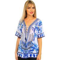Blusa 101 Resort Wear Tunica Crepe Estampada Penas Azul
