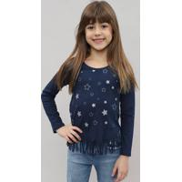 Blusa Infantil Com Franjas E Estampa De Estrelas Manga Longa Azul Marinho