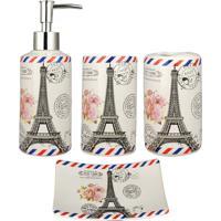 Kit Banheiro R3P Import Lavabo Acessório Jogo Saboneteira Líquida Porta Escova Pasta Dente Torre Eiffel