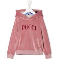 Emilio Pucci Junior Blusa De Moletom Com Paetês E Capuz - Rosa