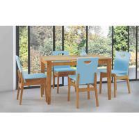 Conjunto De Mesa De Jantar Com 4 Cadeiras Tucupi 120Cm - Acabamento Stain Nózes E Azul Bebê