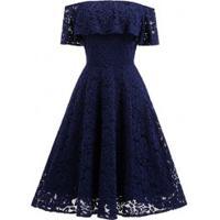 Vestido De Renda Saia Rodada E Manga Caída - Azul