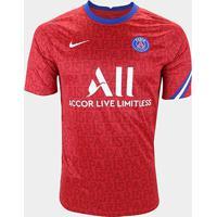 Camisa Paris Saint-Germain Pré-Jogo 20/21 Nike Masculina - Masculino-Vermelho+Branco