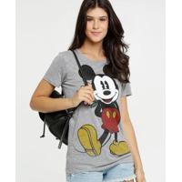 Blusa Estampa Mickey Manga Curta Disney Feminina - Feminino-Cinza