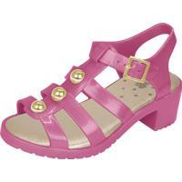 Sandália Flib Infantil Aranha Pérolas Salto Plástico Pink