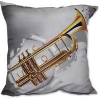 Almofada Trompete Dourado 42X42Cm Uniart