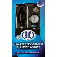 Aparelho De Pressão Bic + Estetoscópio + Braçadeira Nylon Preto Com Velcro + Bolsa