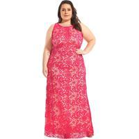 Vestido Longo Plus Size Renda Guipir Rosa Lala Dubi