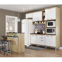 Cozinha Completa Com Bancada E Balcão Com Tampo 6 Peças 7 Prateleiras Sicília Multimóveis Argila/Branco