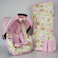 Conjunto Capa Para Bebê Conforto Com Acolchoado Extra E Capa De Carrinho Safari Alan Pierre Baby 0 A 13 Kg Rosa Novo
