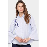 Camisa Facinelli Listrada Bordada Feminina - Feminino