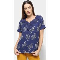 Blusa Efa Renda Bordado Floral Feminina - Feminino-Azul